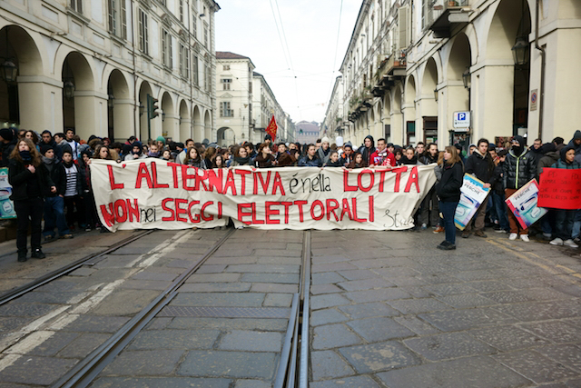 Protesting students. Torino, February 2013. [Joel Schalit]