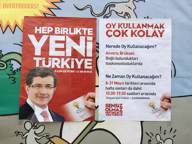 The other loser: The AKP's Ahmet Davotoglu. Schaerbeek, 30 May.