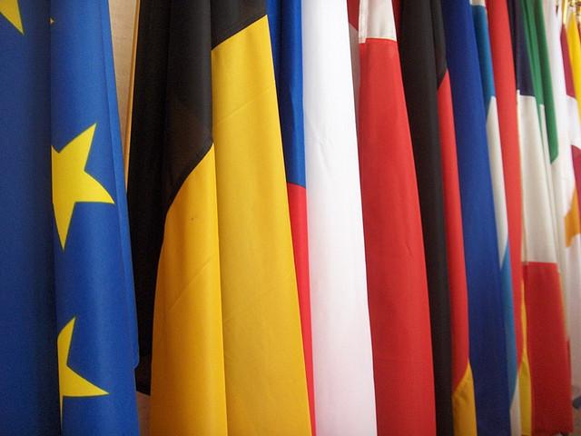 EU flags in Schuman Building