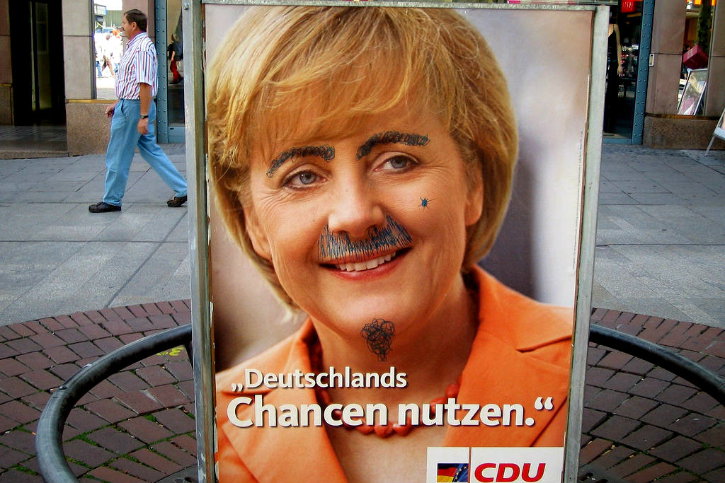Chancellor Angela Merkel is the face of the CDU's European election campaign. Photo: August 2005 [Simon Müller/Flickr]
