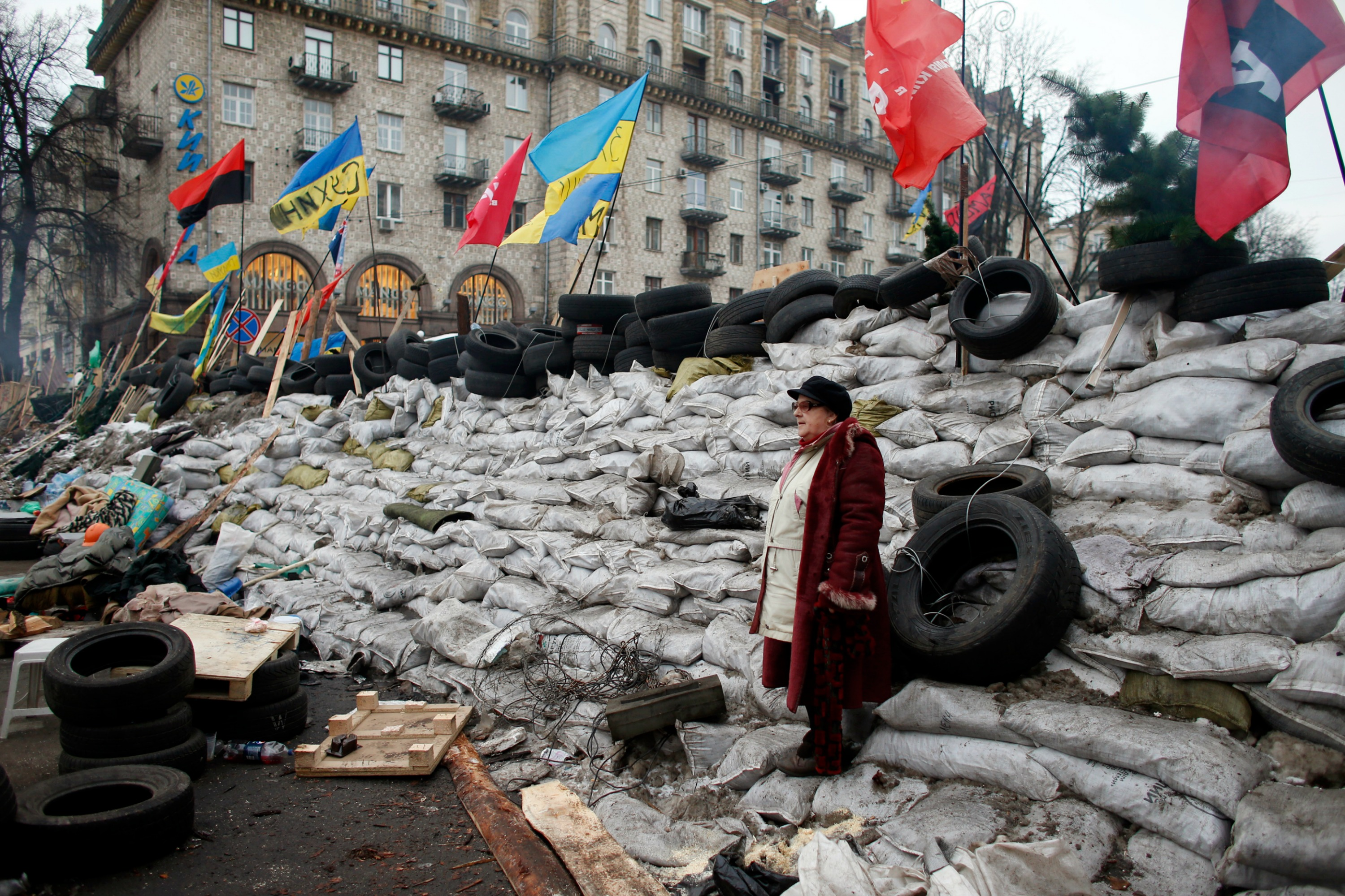 A pro-European integration protester stands on a barricade during a rally in Independence Square in Kiyv [Reuters]