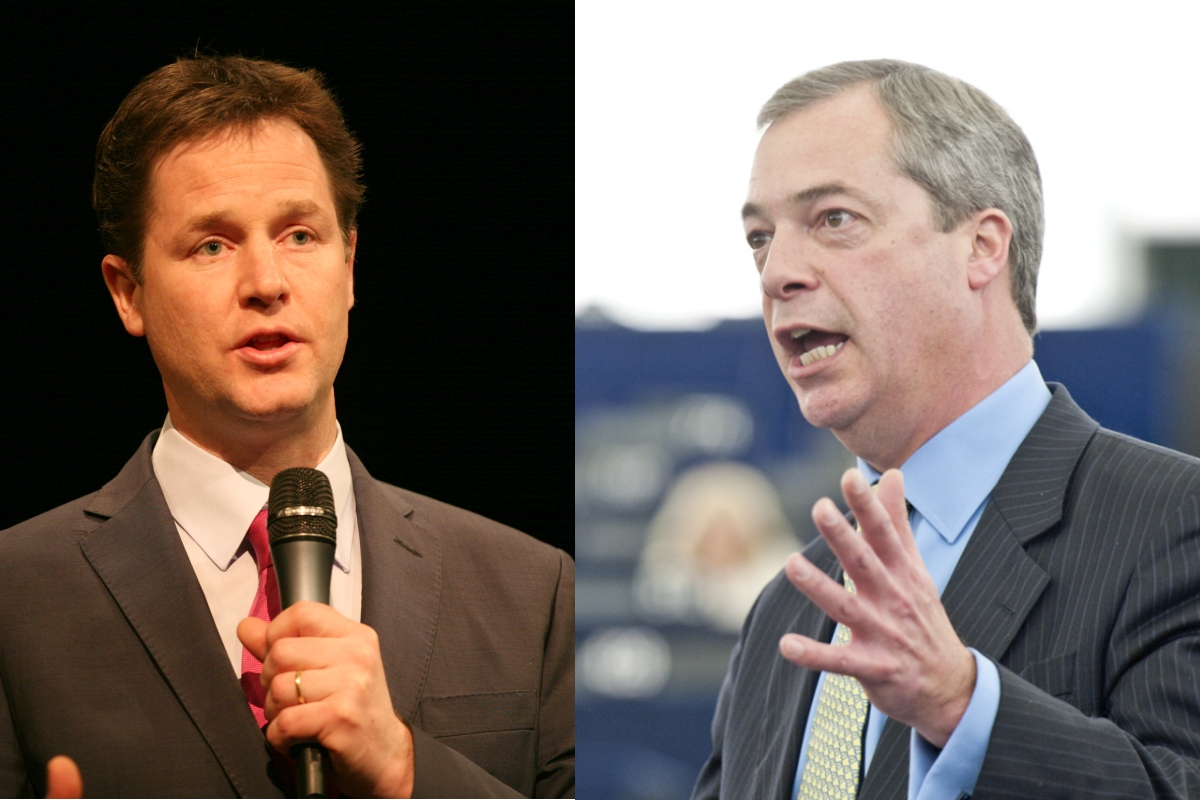 Nick Clegg (left) and Nigel Farage [Liberal Democrats; European Parliament / Flickr]