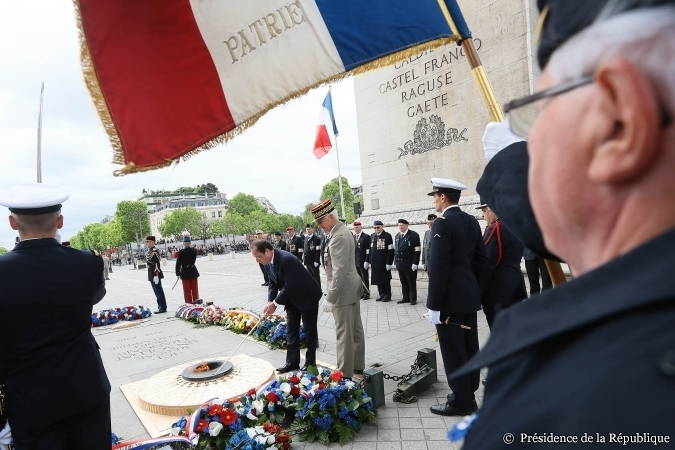 French President François Hollande at the WWII victory commemoration ceremony in Paris, 8 May 2014 [Photo: Elysée Palace]