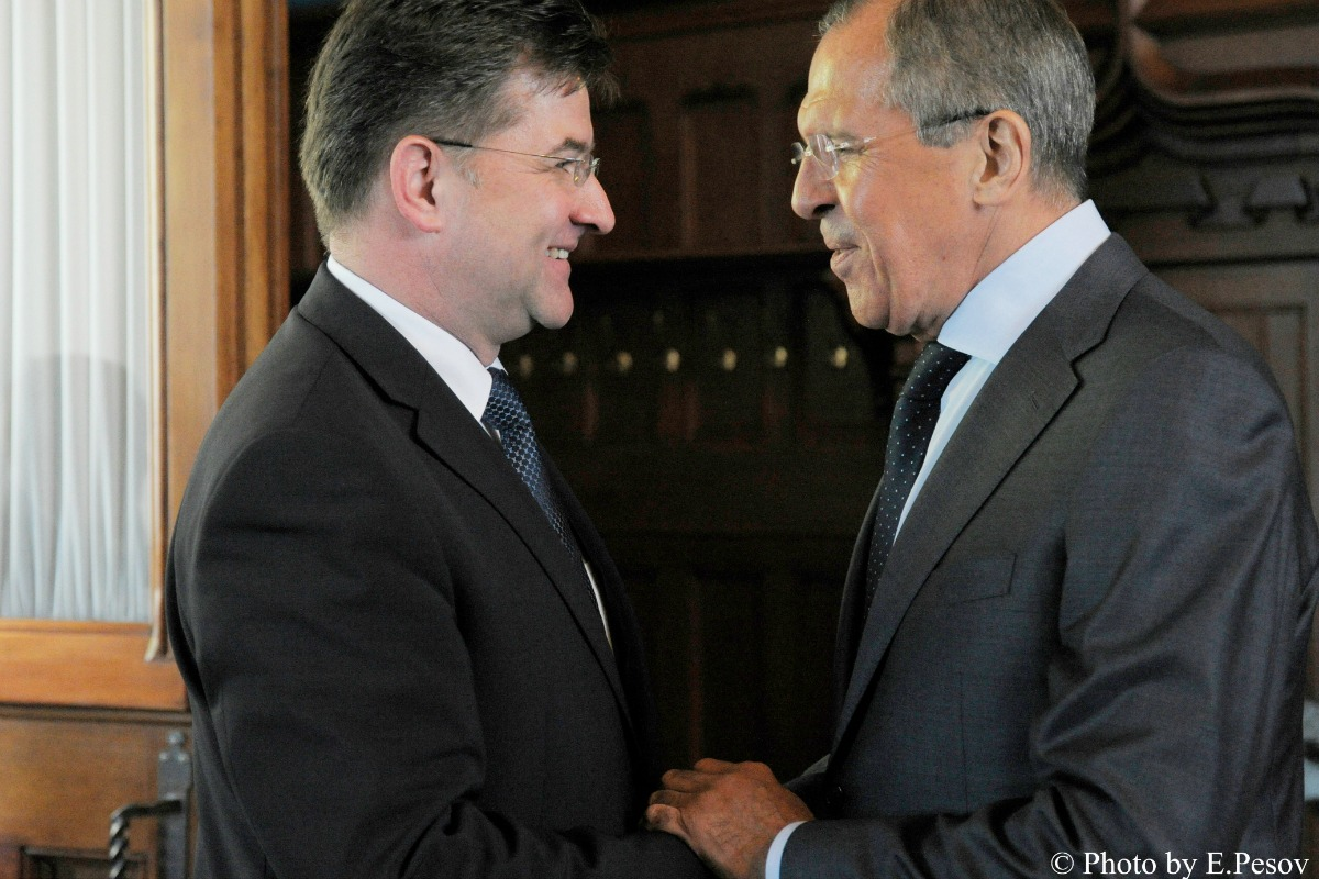 Russian Foreign Minister Sergey Lavrov (R) talks with Slovak Deputy Prime Minister and Foreign Minister Miroslav Lajcak, Moscow, May 19, 2014 [Photo: MFA Russia, Flickr]