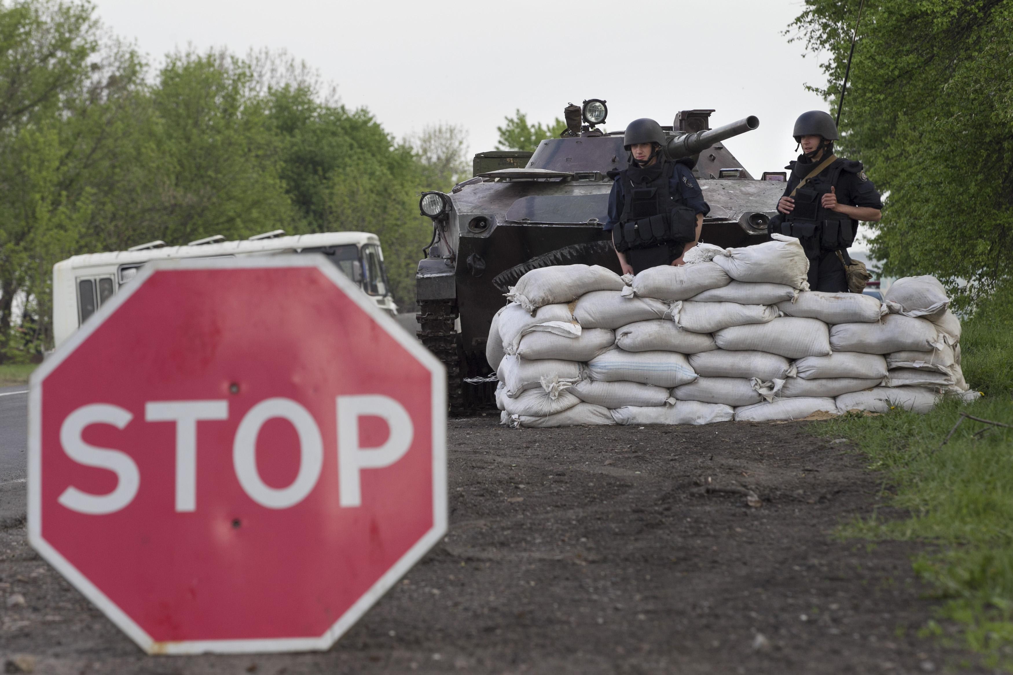 Ukraine forces near the city of Slaviansk. Photo Reuters