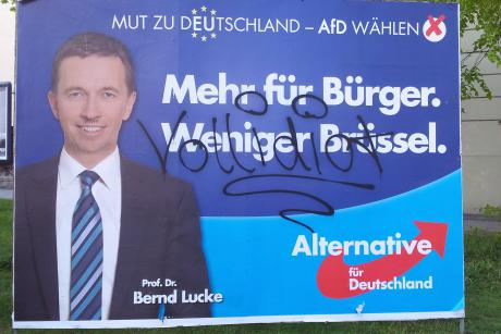 Not a single poster from Germany's Eurosceptic Alternative for Germany (AfD) lasts longer than a day in Leipzig, said the party's leader Bernd Lucke. Berlin 2014 [Patrick Timmann]