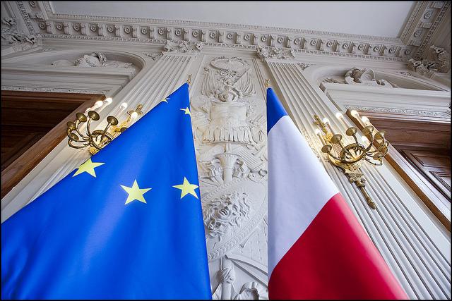 French EU flags