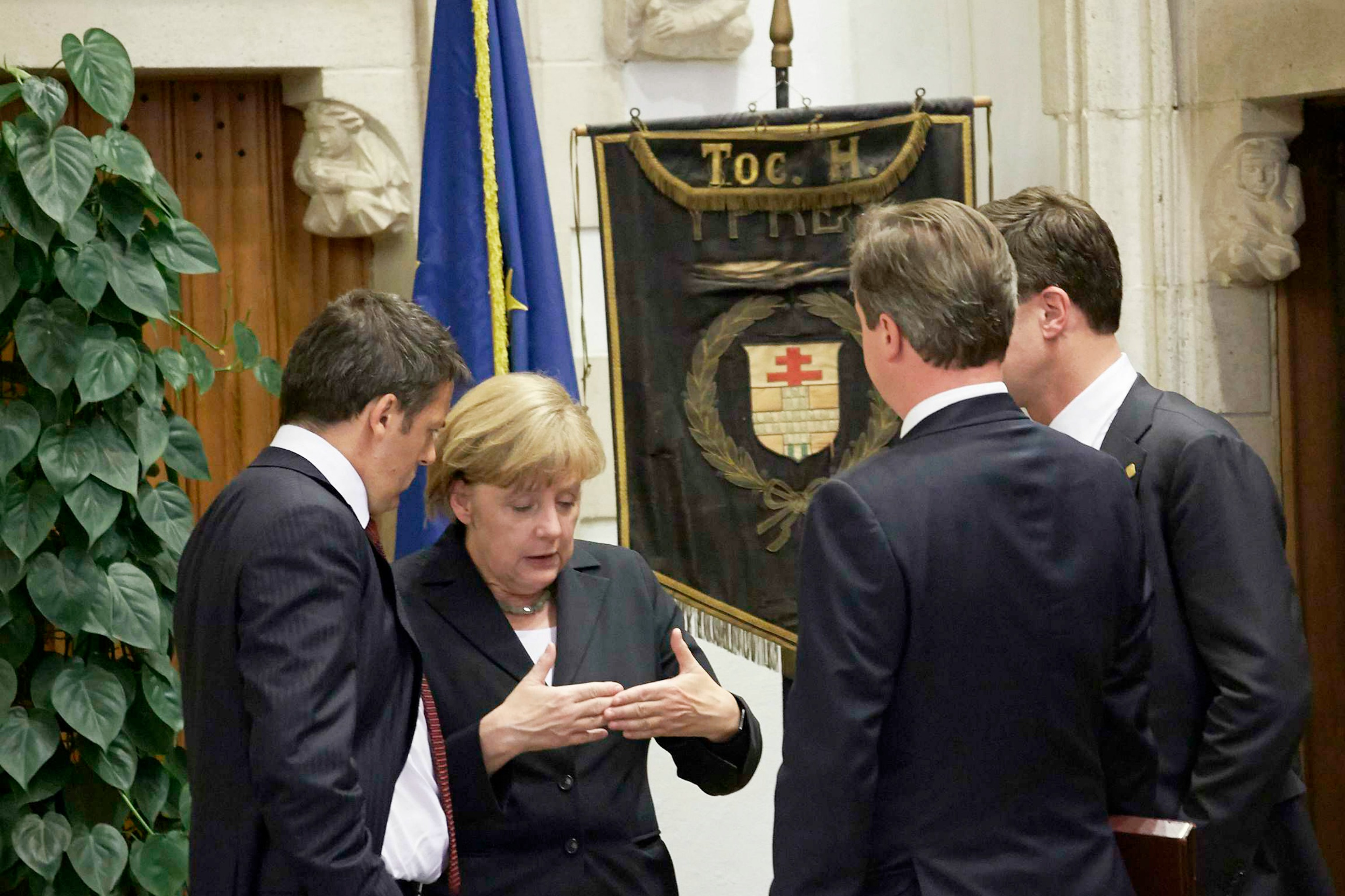 Left to right: Matteo Renzi, Angela Merkel, David Cameron, Mark Rutte in Ypres yesterday [The Council of the European Union]