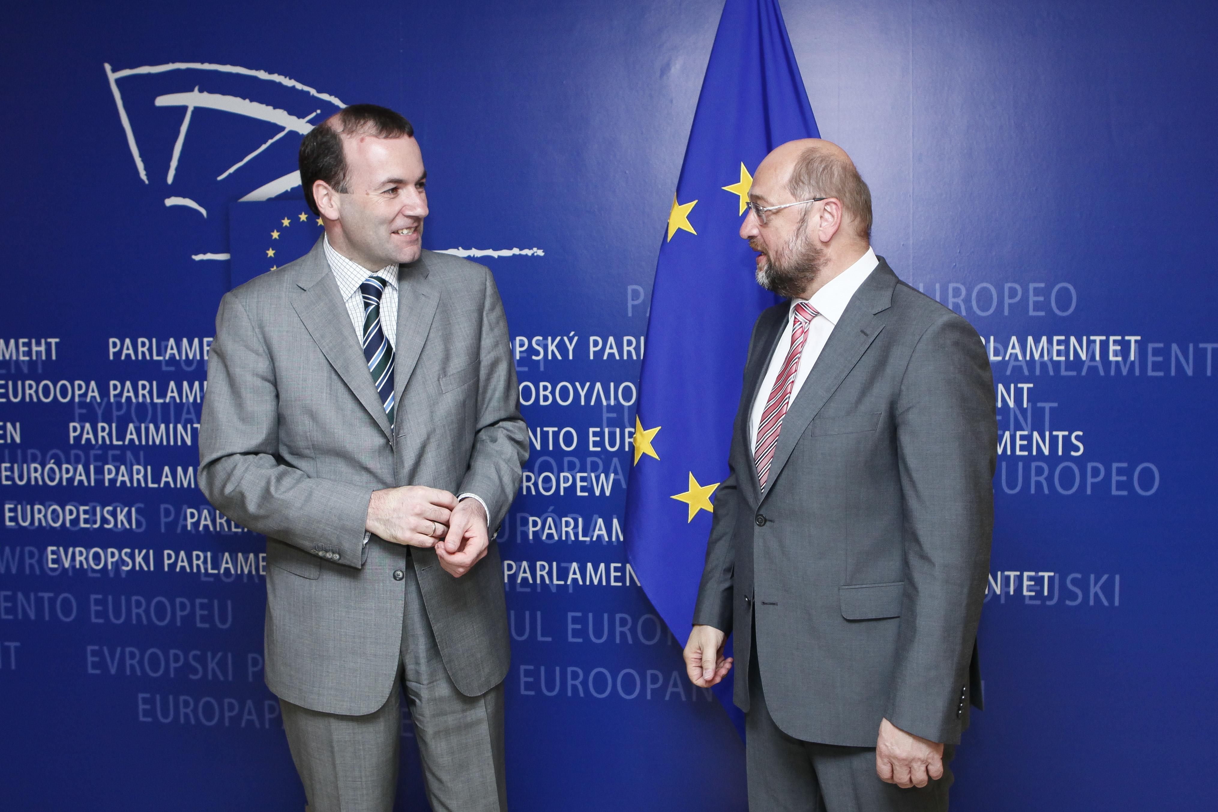 Manfred Weber (EPP, centre-right) and Martin Schulz (S&D, socialist) [European Parliament]