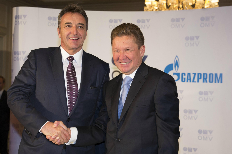 OMV Chief Gerhard Roiss and Gazprom's Alexei Miller, photo OMV