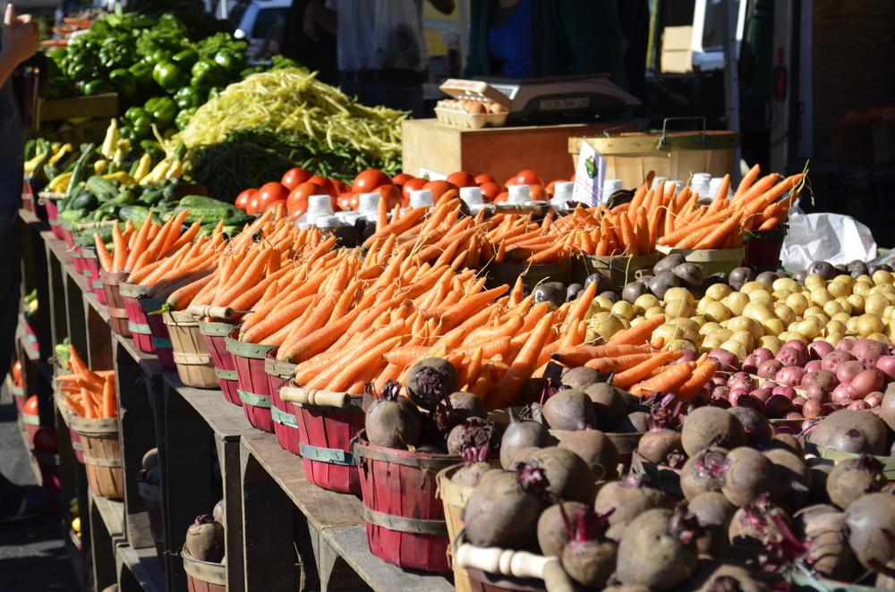 Fresh vegetables at a market. [Shutterstock/Sunlover].
