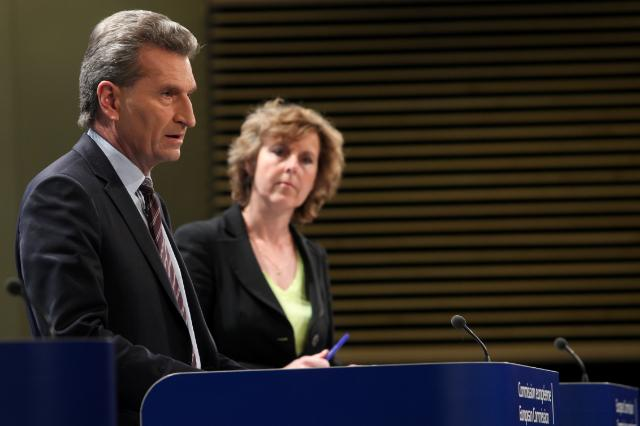 European Commissioner for Energy Günther Oettinger with Climate Commissioner Connie Hedegaard