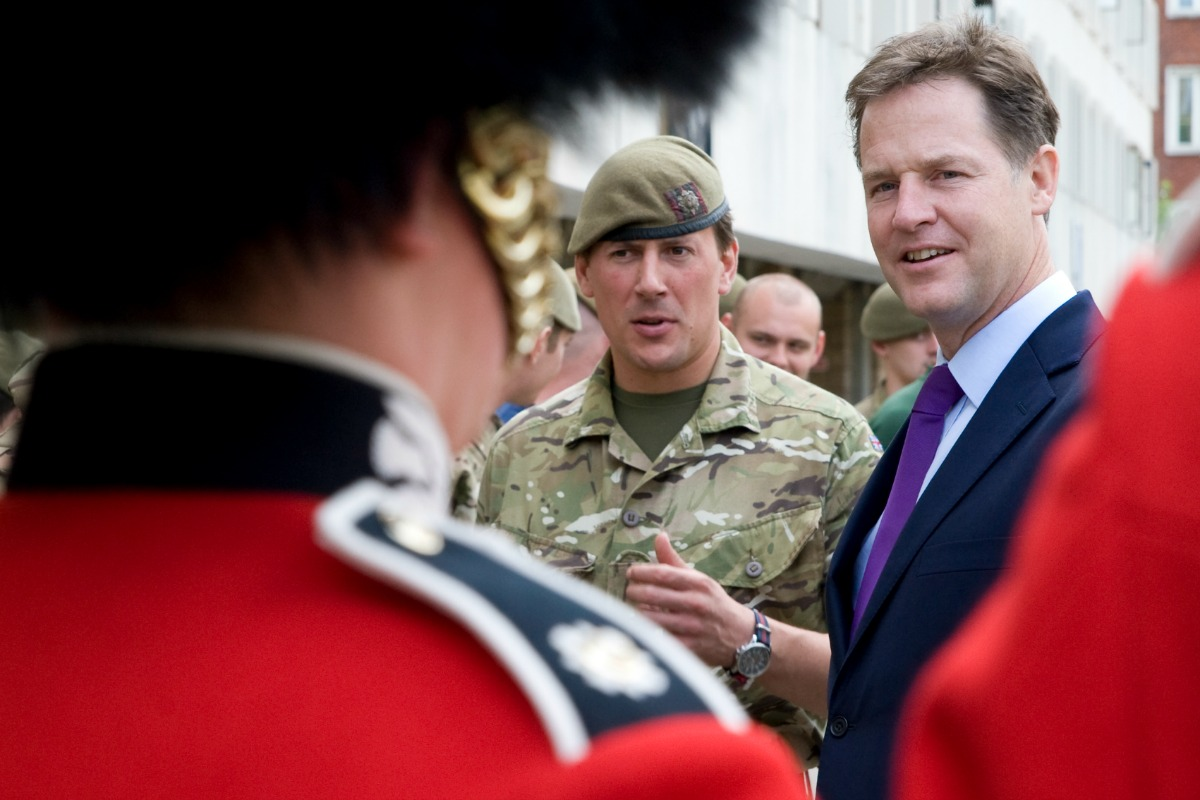 Deputy Prime Minister Nick Clegg visited F Company Scots Guards at their barracks in Central London, June 26, 2014 [Photo: Cabinet office/Flickr]