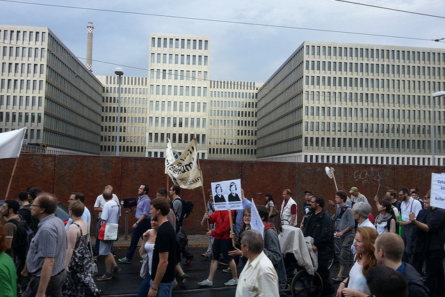 Protesters gather near Germany's intelligence office (BND) in Berlin. July 2013 [Mike Herbst/Flickr]