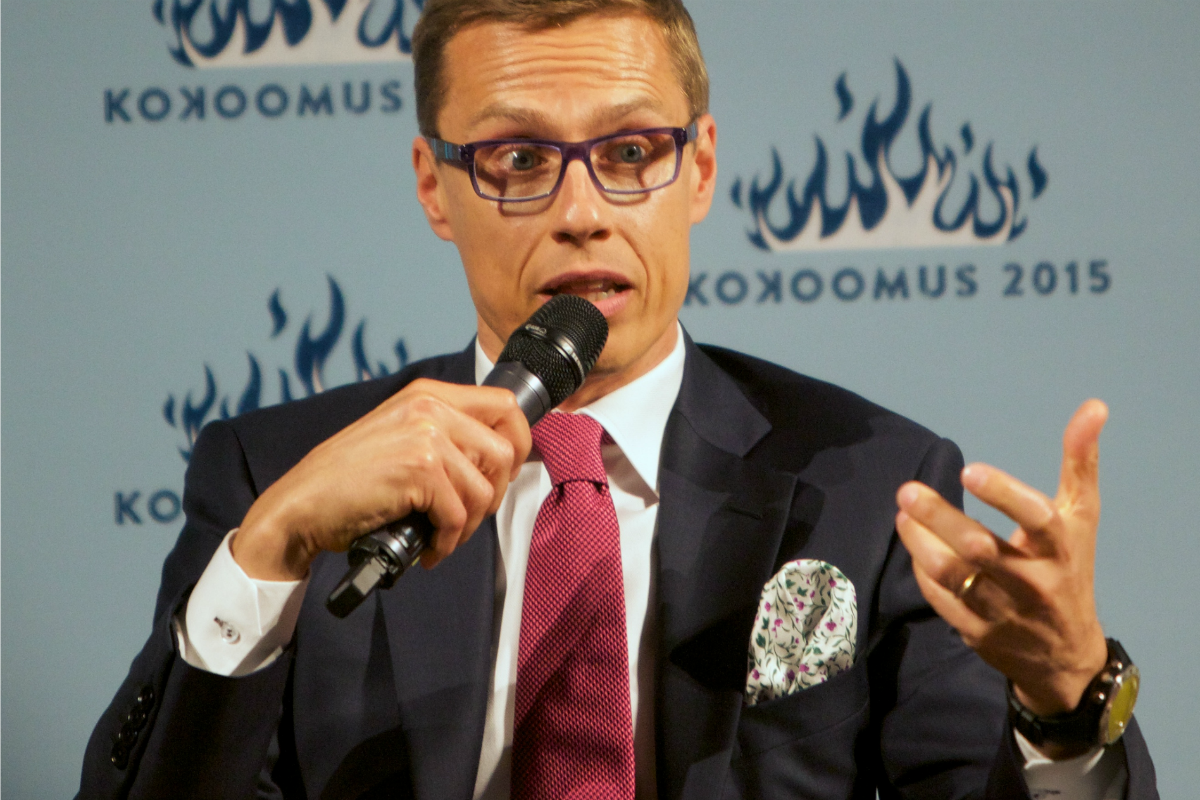 Alexander Stubb speaks at a conference by Kokoomus, the National Coalition Party of Finland, June 2, 2014 [Flickr/Ville Oksanen]