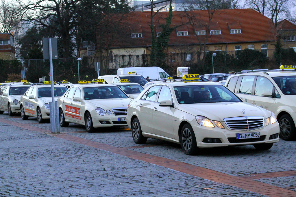 Taxis line up at an event in Berlin. 2011 [Taxi Berlin/Flickr]