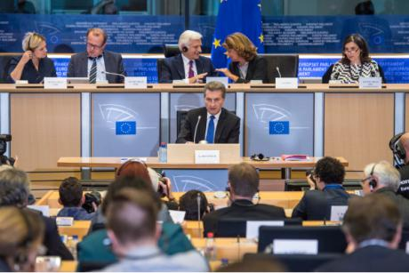 Digital Commissioner designate Günther Oettinger answered questions in a hearing before the European Parliament on Monday (29 September) evening. [EP]
