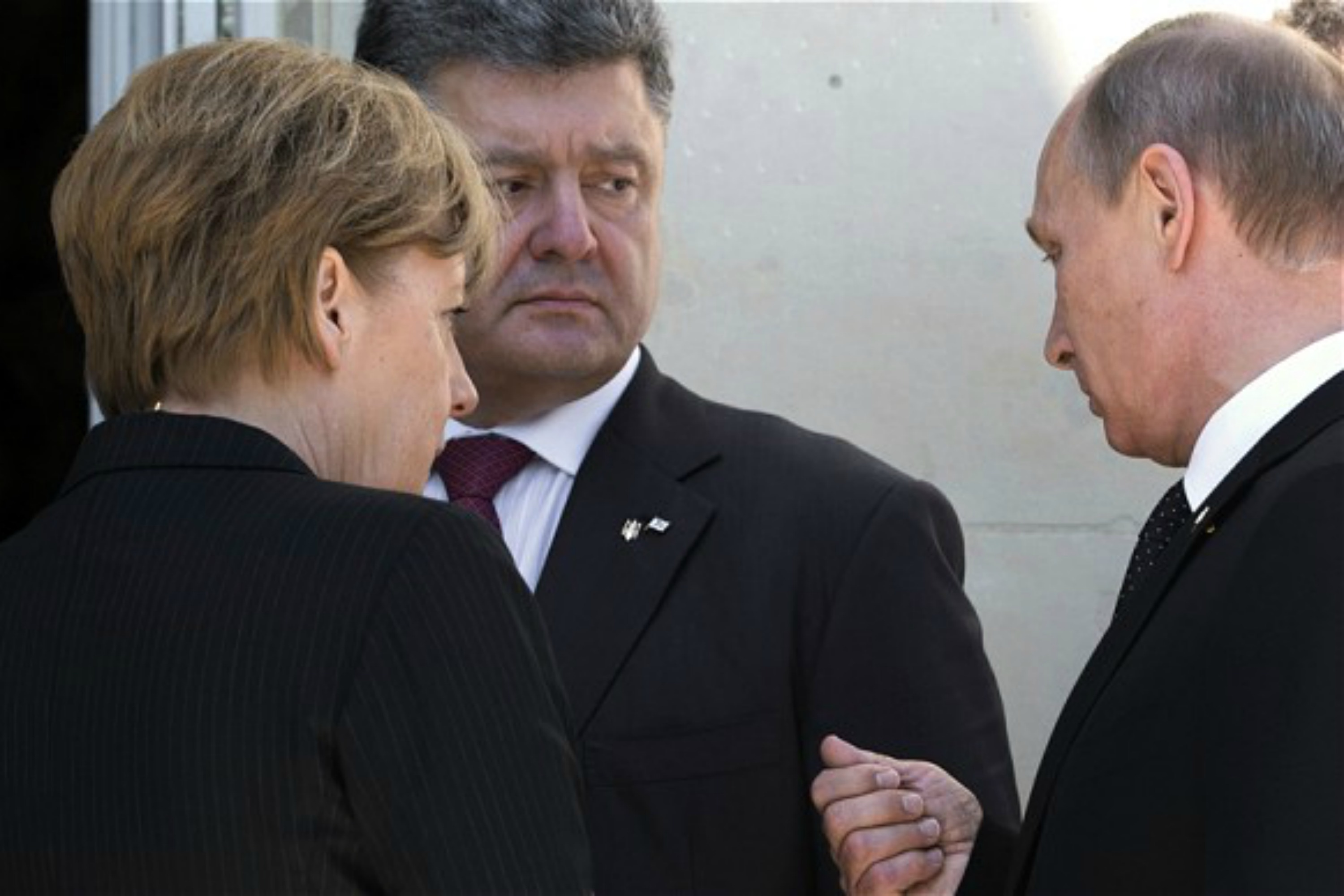 Angela Merkel. Petro Poroshenko, Vladimir Putin at Normandy
