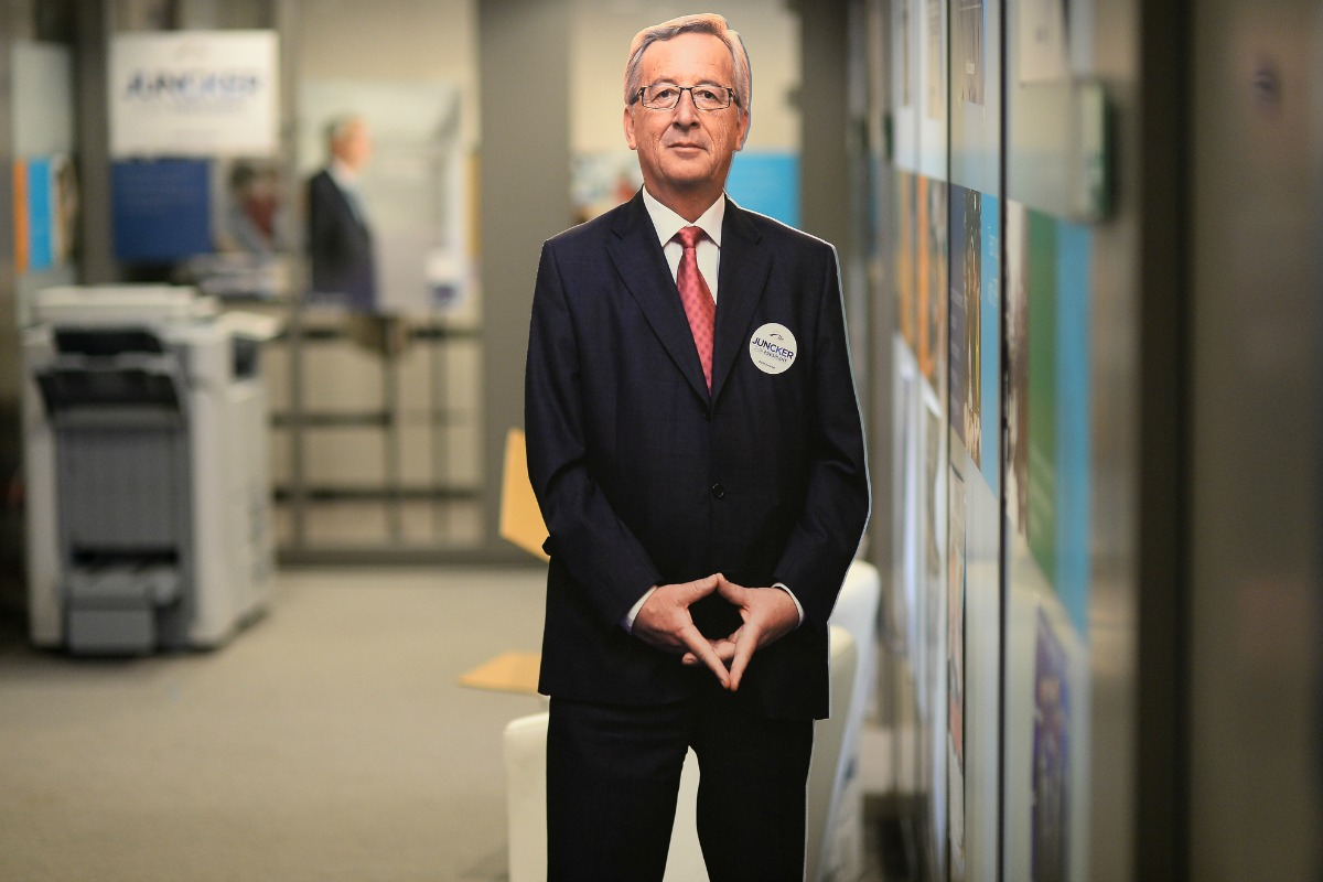 "A dummy of Jean-Claude Juncker stands in a corridor at the ""Juncker for President"" Election Night at the EPP, 25 May 2014 [Jean-Claude Juncker/Flick]"