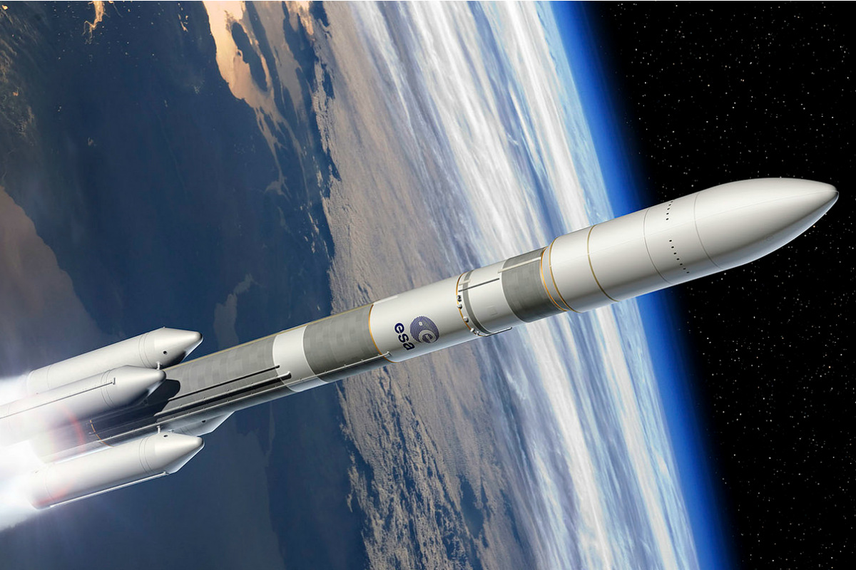 Artist's view of the Ariane 6 four boosters configuration (A64)