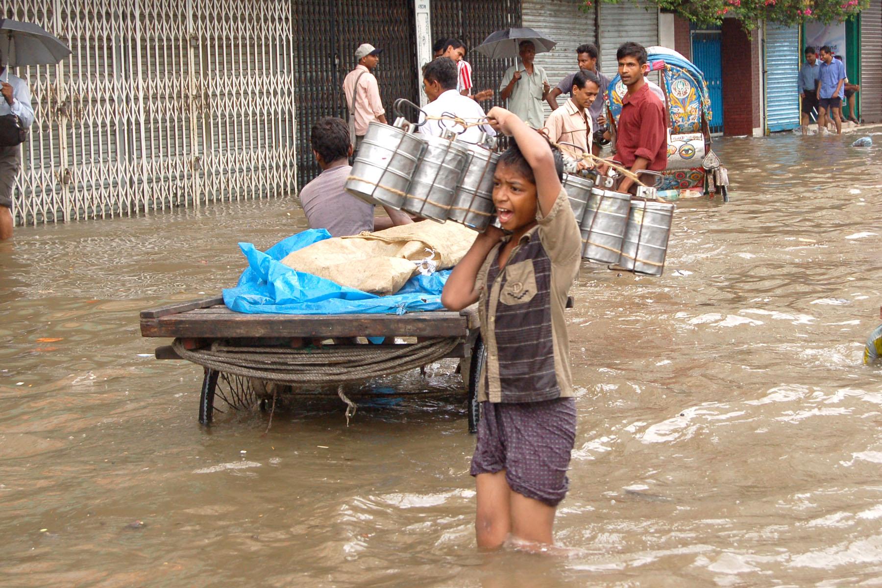 Flooding in Dhaka in 2004.