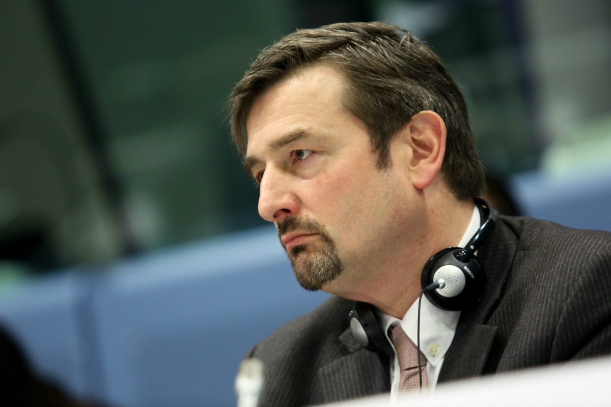 "Olivier Guersent, pictured on 14 Dec. 2012 at a dialogue seminar entitled ""European Social Market Economy"""