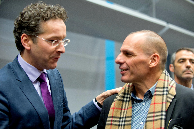 Jeoren Dijsselbloem et Yanis Varoufakis à Bruxelles le 11 février. [European Council]