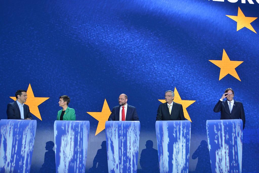 TellEurope Presidential Debate Brussels, 15 May 2014. Organised by EBU, hosted at the European Parliament. Candidates: Jean-Claude Juncker, Martin Schulz, Guy Verhofstadt, Ska Keller, Alexis Tsipras