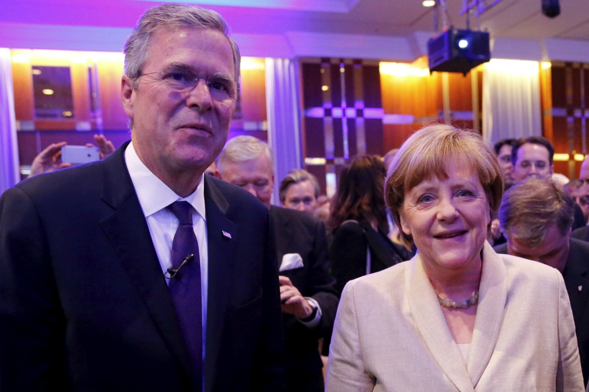 Jeb Bush and Angela Merkel