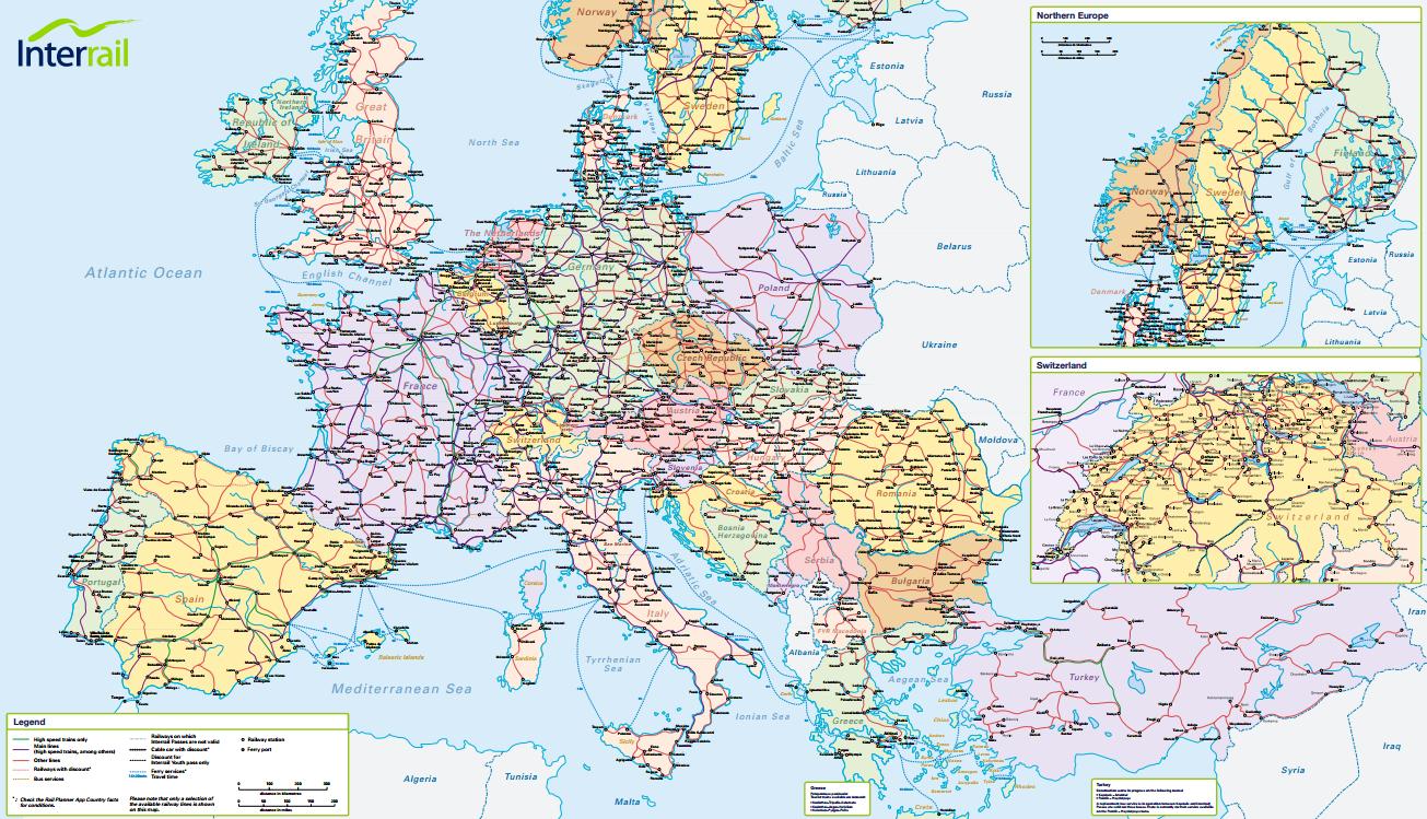 Interrail railway map 2015