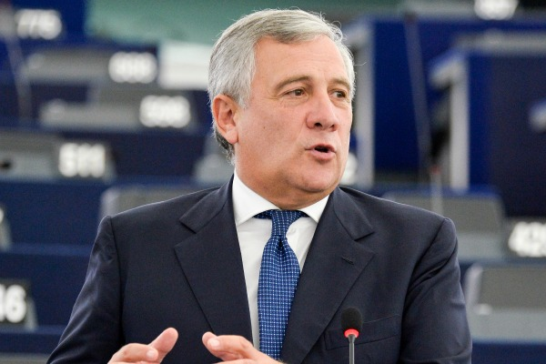 Italian MEP Antonio Tajani (EPP), rapporteur on the online payment services legislation, during the plenary debate on 7 October