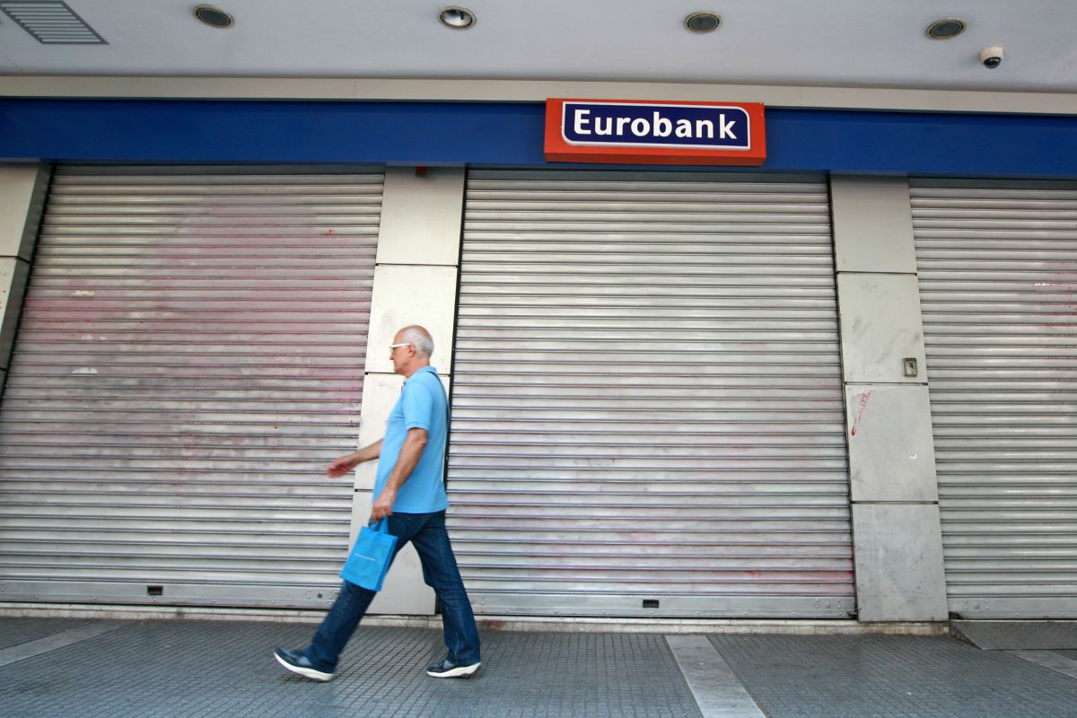 Closed bank, Greece.