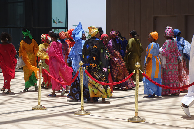 Delegates from the ACP nations arriving at the conference centre outside Dakar.