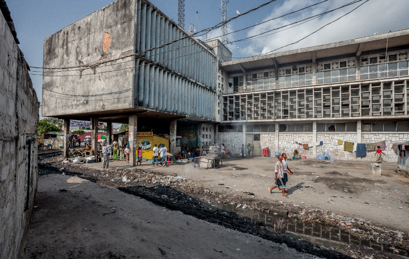 The former head office of the DR Congo Office of Post and Telecommunications - now squatted by some 300 unpaid workers in lieu of salary.
