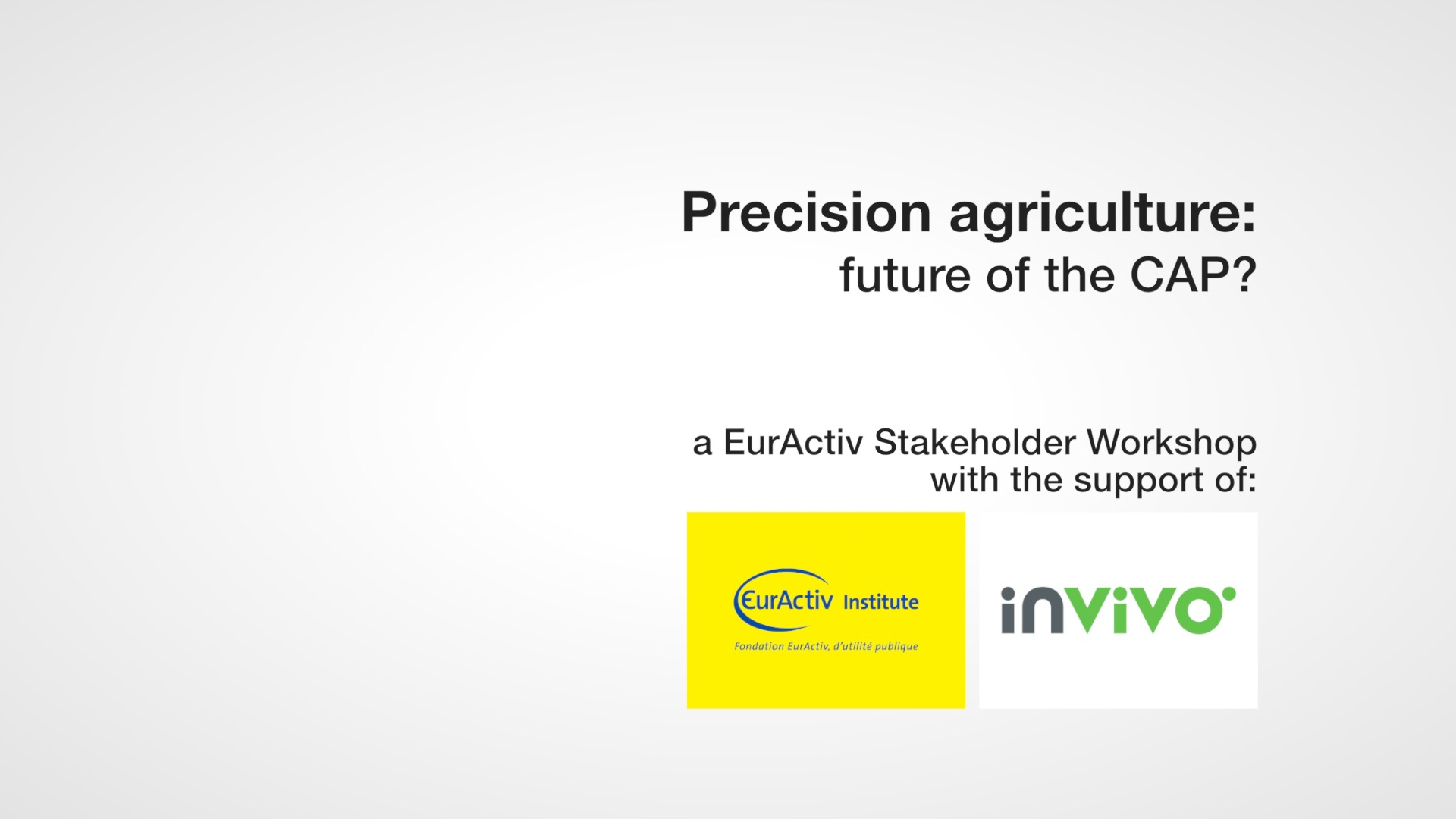 Precision agriculture: future of the CAP?