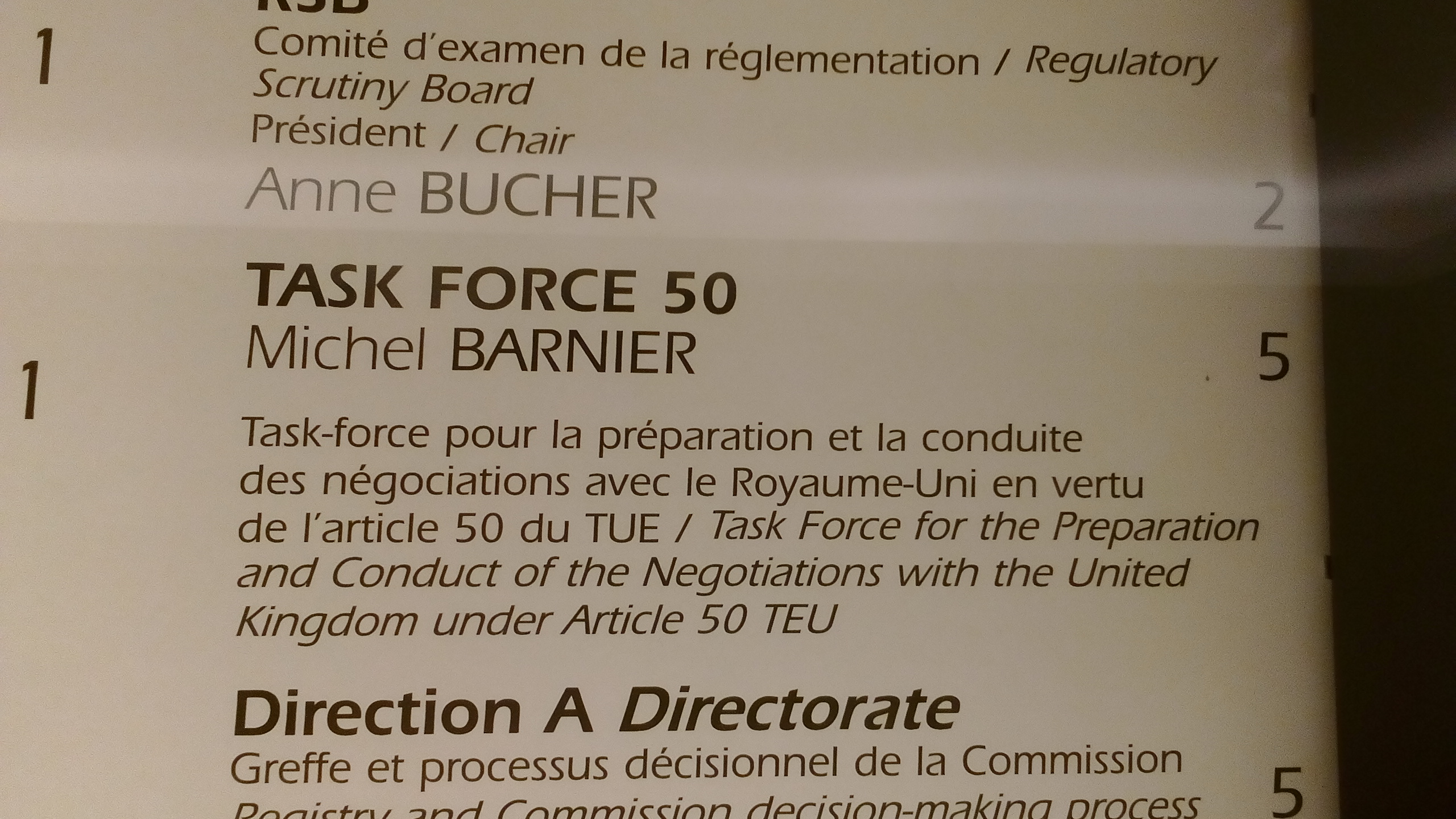 """Task Force 50"" - Michel Barnier's office on the 5th floor of the Berlaymont building in Brussels."