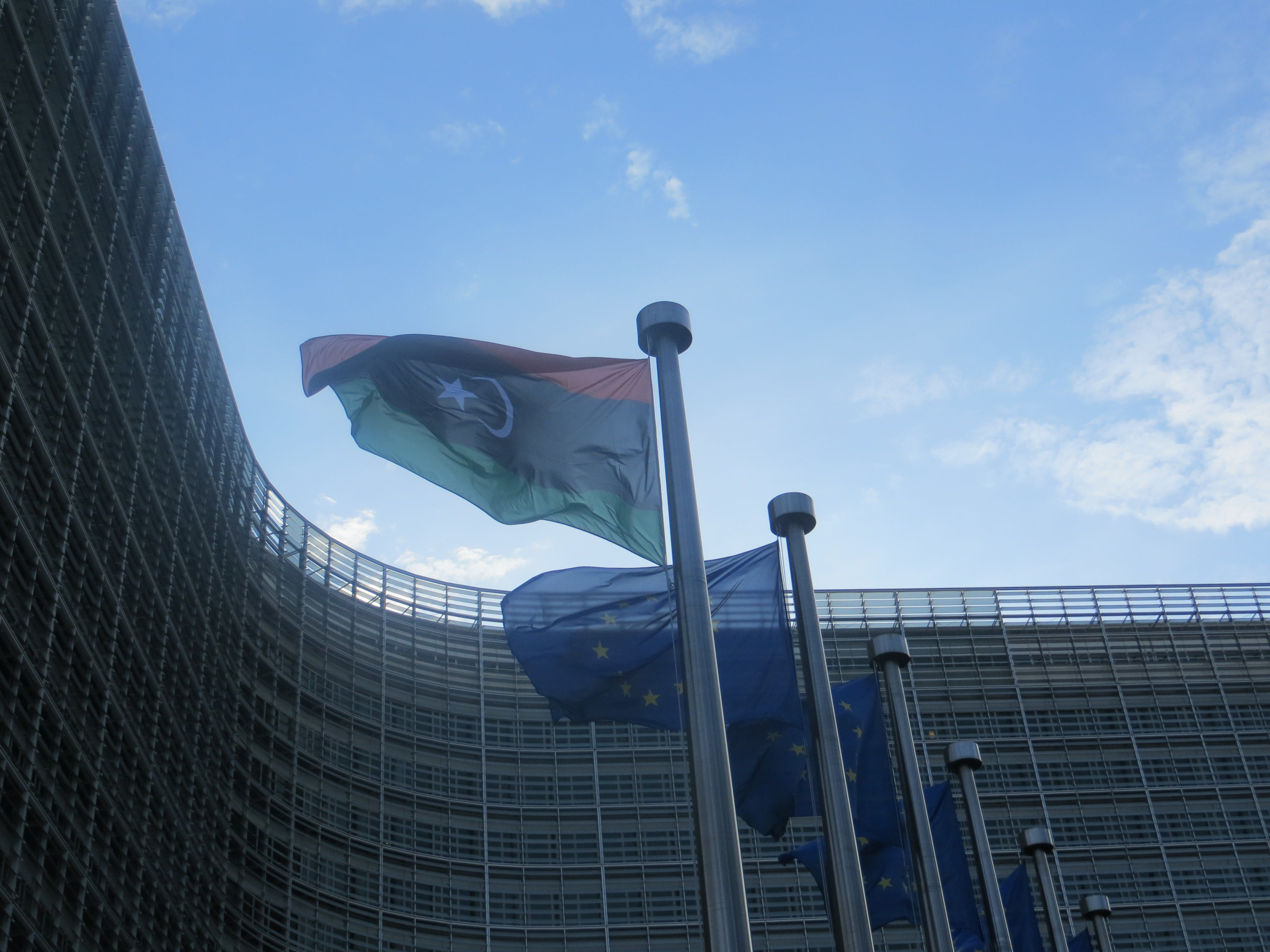 The Libyan flag flying outside the EU Commission on Thursday, 2 February.