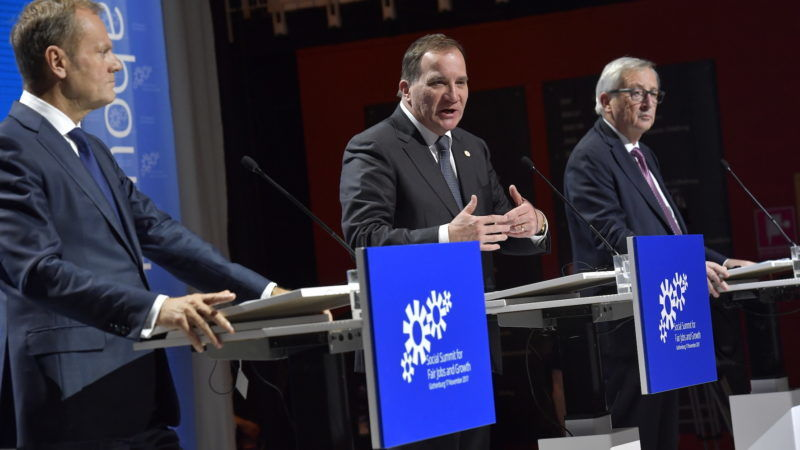 President of the European Council Donald Tusk and Sweden's Prime Minister Stefan Lofven and European Commission President Jean-Claude Juncker speak during the EU Social Summit for Fair Jobs and Growth in Gothenburg, Sweden, 17 November 2017. The Social Summit will gather EU heads of state or government, the social partners and other key stakeholders for an open discussion on how to promote fair jobs and growth.